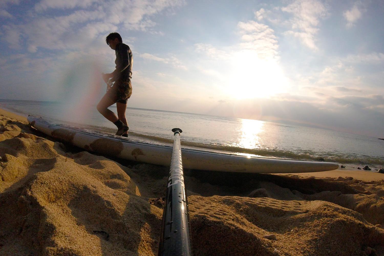 美しい海と砂浜とSUP