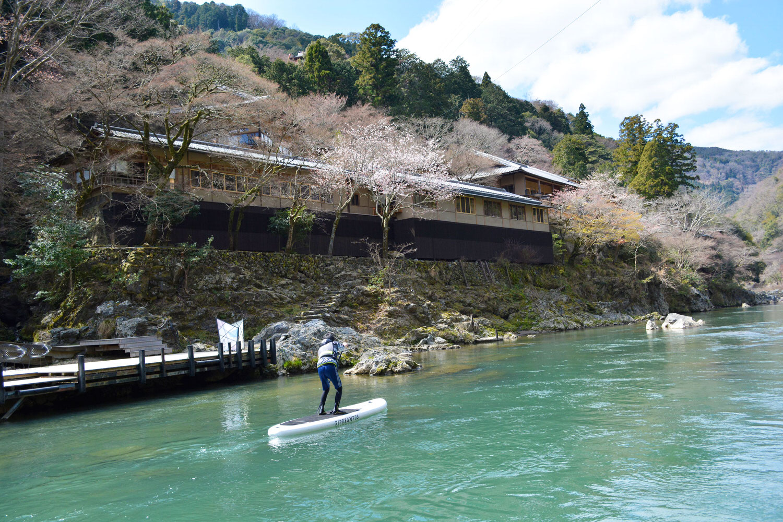 桜の木の下を京都嵐山SUPクルージング