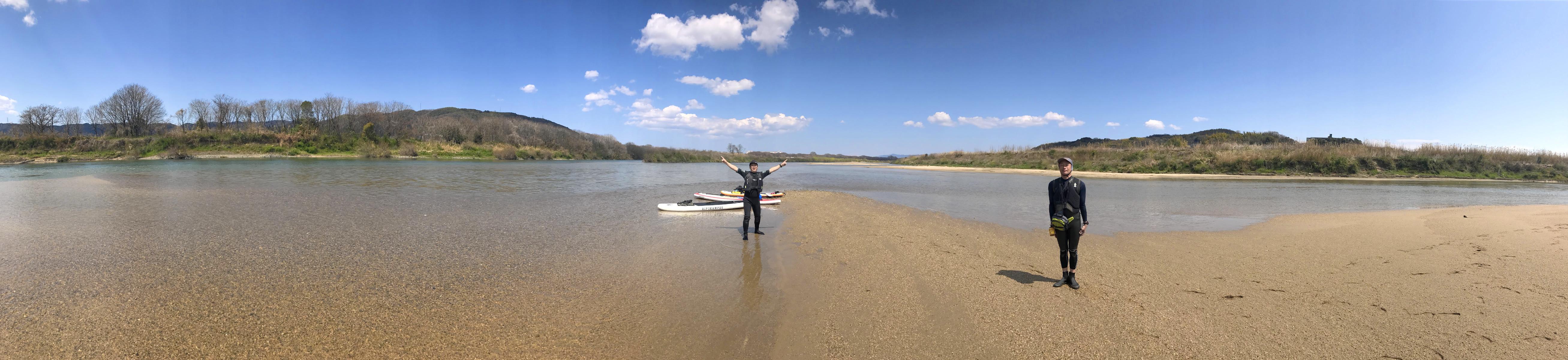 宇治川と木津川の合流部は遠浅でビーチが点在する絶景ポイント