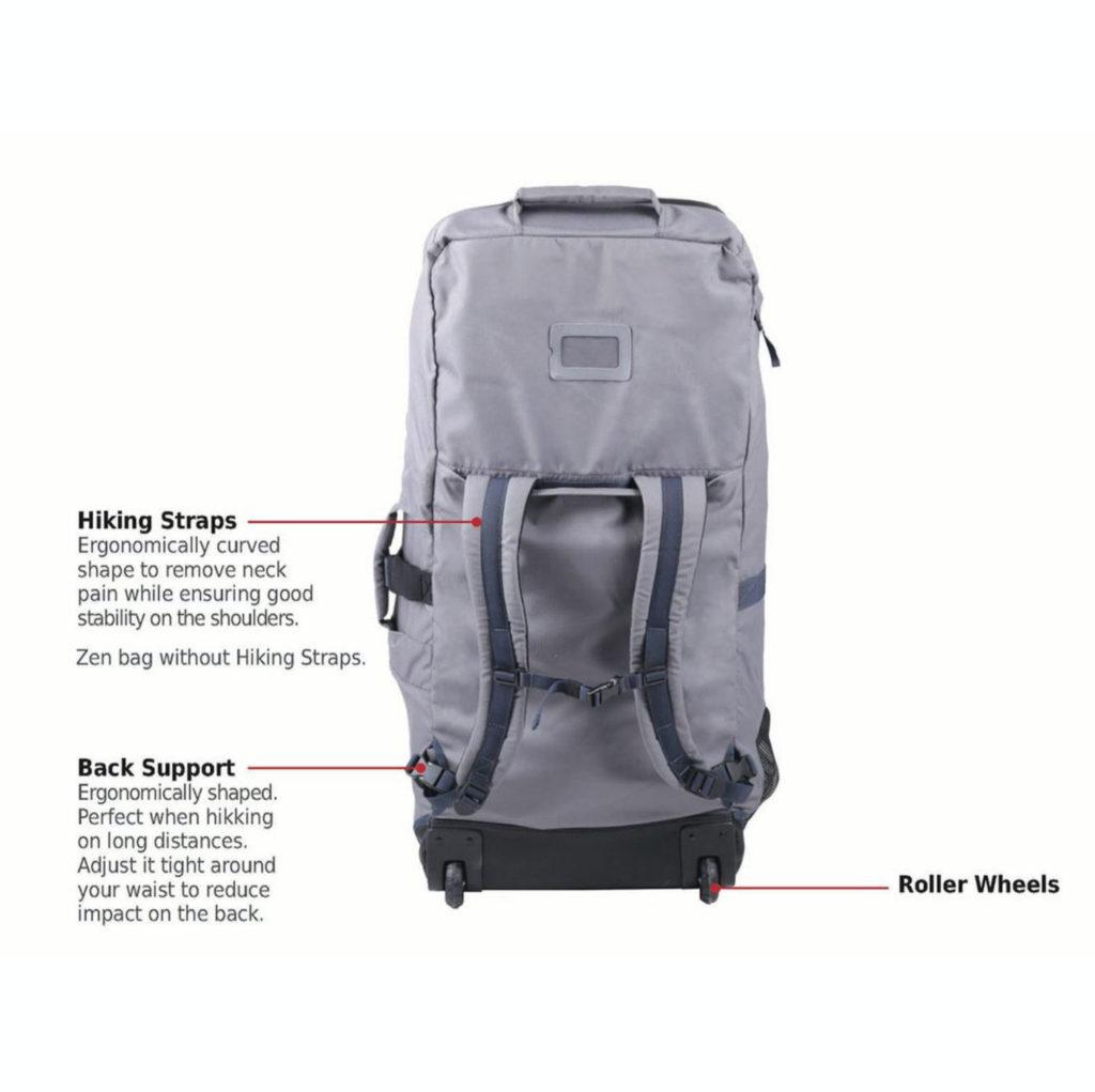 RE-COVERバッグはPETボトルをアップサイクルして作り出された、非常に強靭な450デニール・ポリエステルを使用しています。エルゴノミック・カーブシェイプにより、頸部への擦れを防ぎつつ、背負っている間の安定性を確実にします。ホイール付きなので長距離歩行も安心。