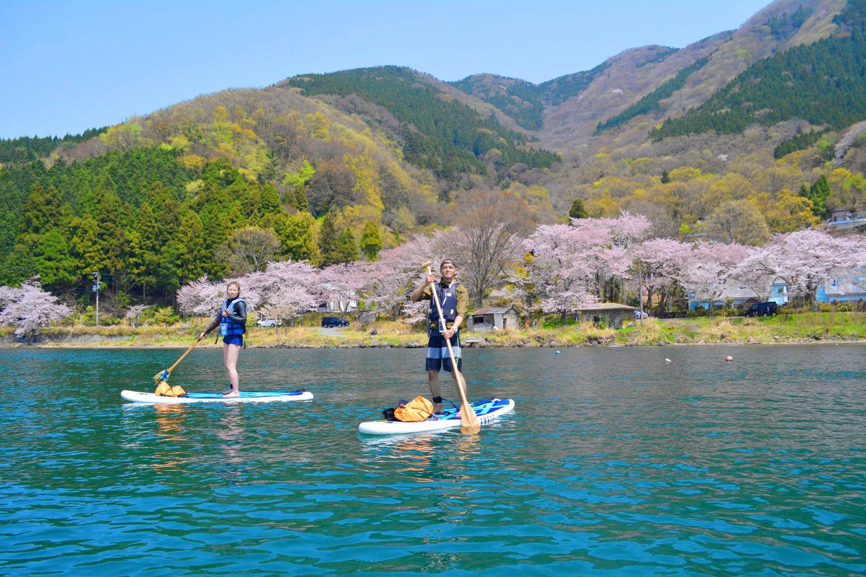 桜の名所としても有名な海津大崎でのSUP