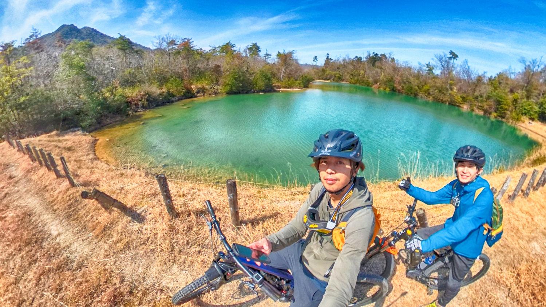 白ひげeMTB体験で訪れるトレイルにある池