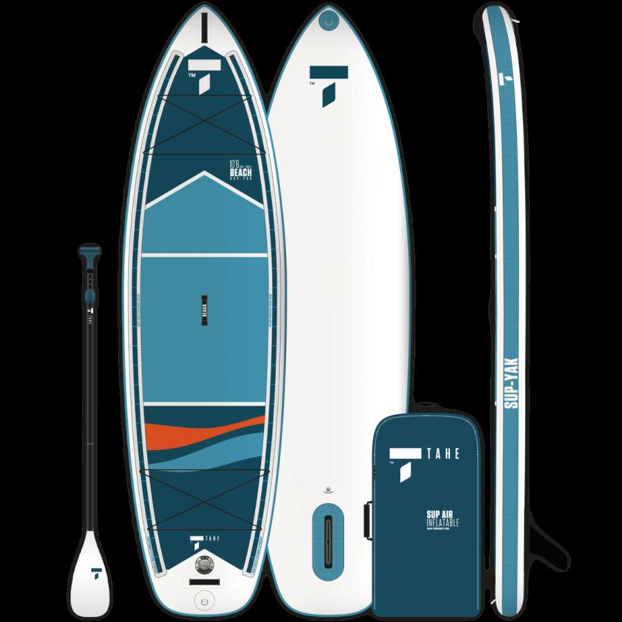 """BEACH SUP-YAKはTAHEブランドの代名詞的ポイントであるコストパフォーマンスが非常に高いインフレータブルSUPボードになります。 通常のSUP利用のパッケージの他に、カヤック利用も可能なパッケージもご用意しています。 サイズは10'6"""" と11'6"""" の2種類。"""